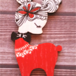 Wooden Reindeer Brooch