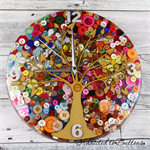 Tick Tock - Sunset - Natural Tree of Life - Buttons Resin clock - silent motion