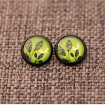 Black Flora on Green~ Black Enamel Studs