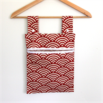 Laundry Fun Peg Bag - Red & Natural oatmeal sunrises.