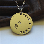 'Neso' Silver disc pendant Handstamped… MAKE A WISH …