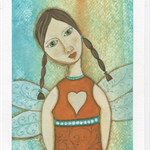 Art Print Angel from Original Painting - Eco Friendly, A4 quality canvas print