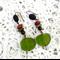 Copper & resin earrings in earthy red & green hues