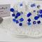 Large Blue Glass Crochet Wire Cuff Bracelet Handmade OOAK by Top Shelf