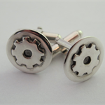Sterling silver cog sprocket gear cufflinks