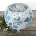 Blue and white Spring floral mosaicked vase