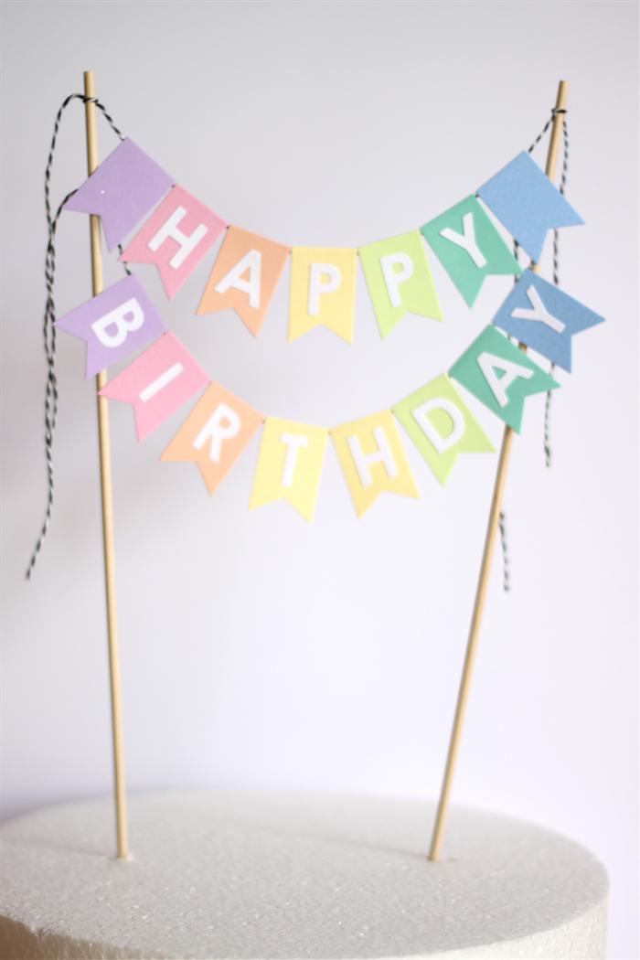 Cake Topper Pastel Rainbow Banner Happy Birthday