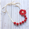 Red and Ivory Bubble gum  bead necklace with flower