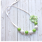 White and Green Bubble gum  bead necklace with flower