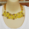 Lemon Gold Crochet Wire Beaded Handmade OOAK Bib Necklace by Top Shelf