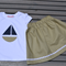 Girls Outfit, Size 4, Navy and Taupe, Skirt, boat, daisy chain, applique