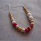 Organic Wood Bead Necklace /Deep Pink & White / Breastfeeding & Nursing Mums
