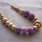 Organic Wood Bead Necklace / Purple & Lilac / Breastfeeding & Nursing Mums