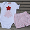 Christmas Tree Outfit, Girls, Boys 0 6-12mth, Red, bloomers, ric rac, applique