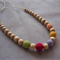Organic Wood Bead Necklace / Rainbow on Cream / Breastfeeding & Baby Wearing