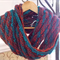 Wool and soy blend Mobius collar, rust, teal and turquoise colours