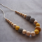 Organic Wood Bead Necklace / Grey & Yellow / Breastfeeding & Nursing Mums