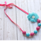 Pink and Blue Bubble gum  bead necklace with flower