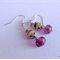 Czech rondelle faceted earrings, cream; purple; silver bead caps, silver finding