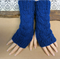 Blue Fingerless Gloves, Wrist Warmers, Cabled Arm Warmers, Womens Chunky Knit