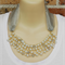 Pearl Silver Crochet Wire Beaded Handmade OOAK Bib Necklace by Top Shelf