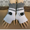 Crochet Fingerless Gloves, Wool Buckle Arm Warmers, White Grey Wrist School Mitt