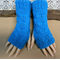 Fingerless Gloves, Bright Blue Wrist Warmers, Cabled Arm Warmers, Chunky Knit