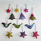 12 Handmade Felted Christmas Decoration   6 stars 3 trees 3 birds
