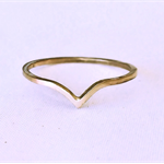 Gold chevron ring, gold stacking ring, teardrop ring