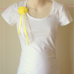 White Maternity T-shirt with Flower and Lace Embellishment (M6)