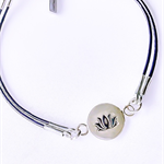Sterling lotus flower on leather charm bracelet