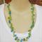Blue Green Crystal  Crochet Wire Beaded Handmade OOAK Necklace by Top Shelf