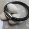 Unisex Stainless Steel Black Plaited Leather Bracelet