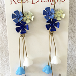 Hand Coloured Flower Studs in Blues and cream