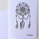 Thank you card - dream catcher  - thankyou greeting card