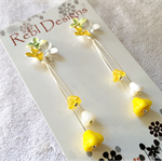 Hand Coloured Flower Studs in Yellows and White
