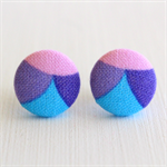 Buy 3 Get 1 Free! Scalloped Purple Fabric Button Stud Earrings