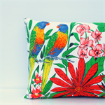 Rainbow Lorikeet (Australia Bird) Vintage Linen Tea Towel Cushion Cover