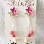 Hand Coloured Flower Studs in Pinks and Cream