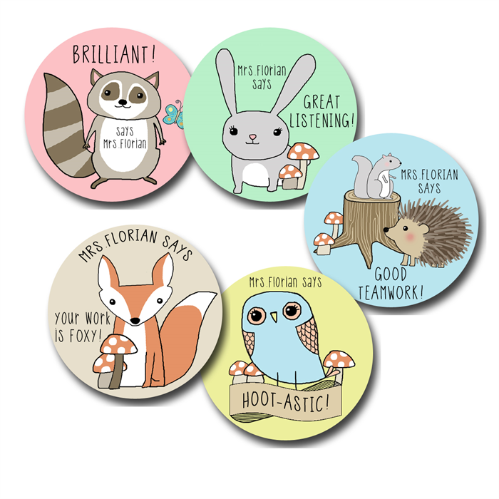Foxy forest personalised stickers for teachers