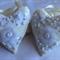 Two Cream & White Fabric Heart Hanging Decorations, Wedding Decor, Shabby Chic
