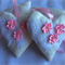 Two Cream, White & Pink Fabric Heart Hanging Decorations,  Shabby Chic