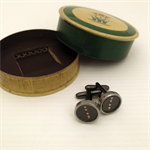 Typewriter-key cufflinks in vintage tin - SEMI-COLON punctuation key set