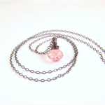 Pink Crystal Quartz Dark Oxidised Sterling Silver necklace pastel