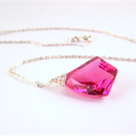 Pink Crystal Quartz Geometric Shape Sterling Silver necklace