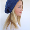 Blue knitted slouch beanie / hat,