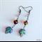 Czech leaf bead - long dangle earring, blue, brown, lustre