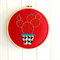 cactus love   hoop art   prickly pear   embroidered   red geometric