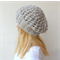 Hand Knitted winter slouchy Beanie/ hat in grey wool blend