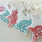 3 Christmas star decorations in red. Porcelain. Ceramic ornaments. Teachers gift